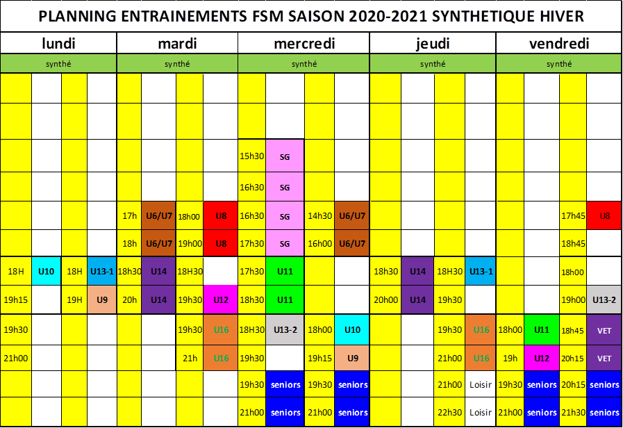 planning entrainement fsm 2020-2021